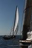 The skipjack Martha Lewis pulls ahead.