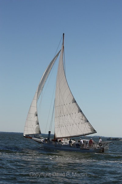 The skipjack Rebecca T. Ruark under full sail.