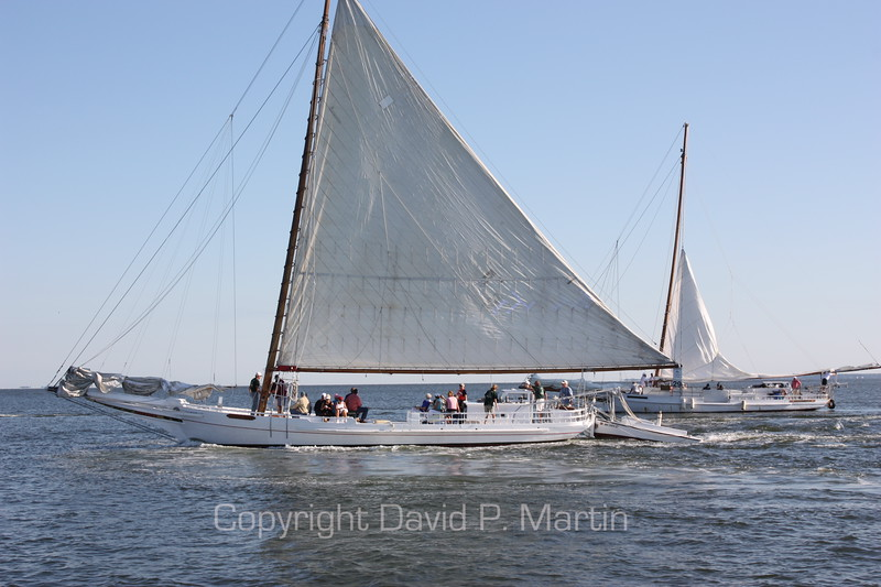 The Kathryn and the Rebecca T. Ruark raise their sails on the way to the starting line. (2010)