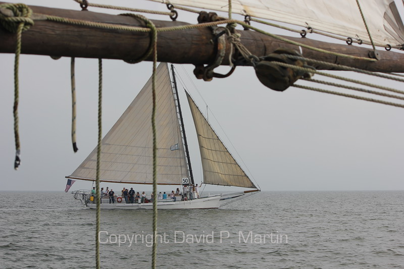 The skipjack Minnie V under the boom of the Somerset. (2012)