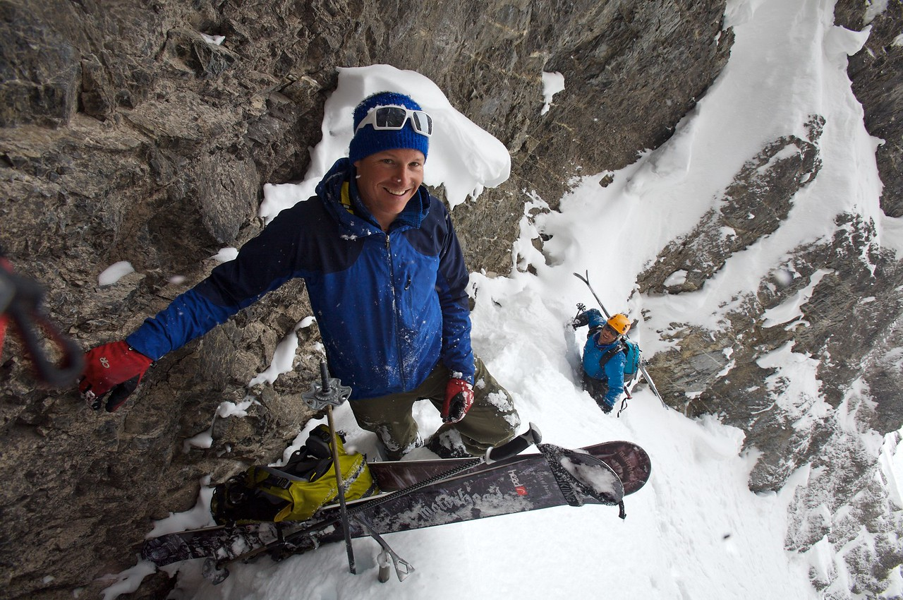turn around point in the couloir, below a 4 meter smooth rock step.