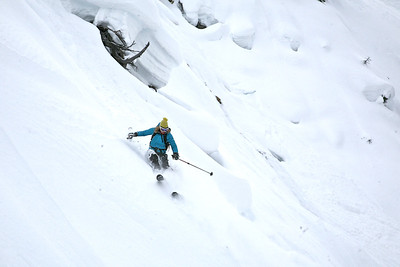 Andrea in the steep lower part of the last run into Emerald Basin