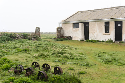 The Skokholm farmyard, witk old tipper wheels from the building of the lighthouse