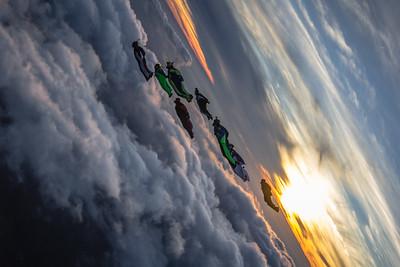 Wingsuiters flying at Jumptown, Massachusetts Flocktoberfest
