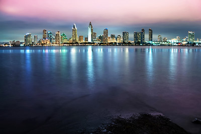 San Diego Nights -- San Diego skyline from across the harbor.