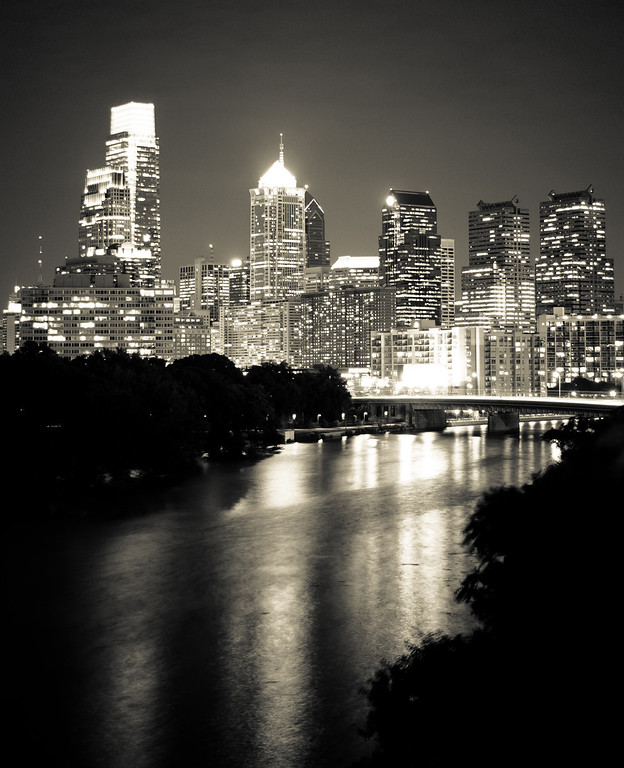 Philly - retro classic in black and white<br /> Philadelphia, city of Liberty and Cheesesteaks...