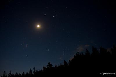Venus following the Moon and Jupiter