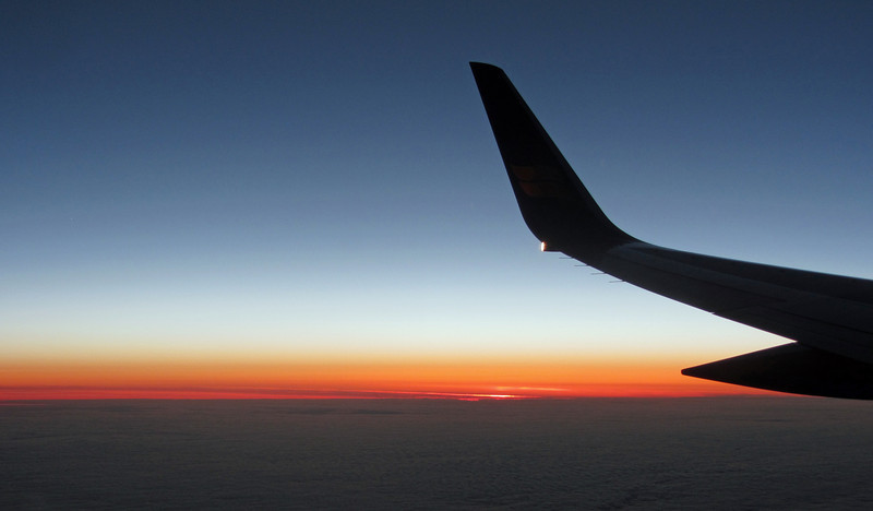 June 15, 2013.  Sunset from an airplane over the North Atlantic near Greenland.