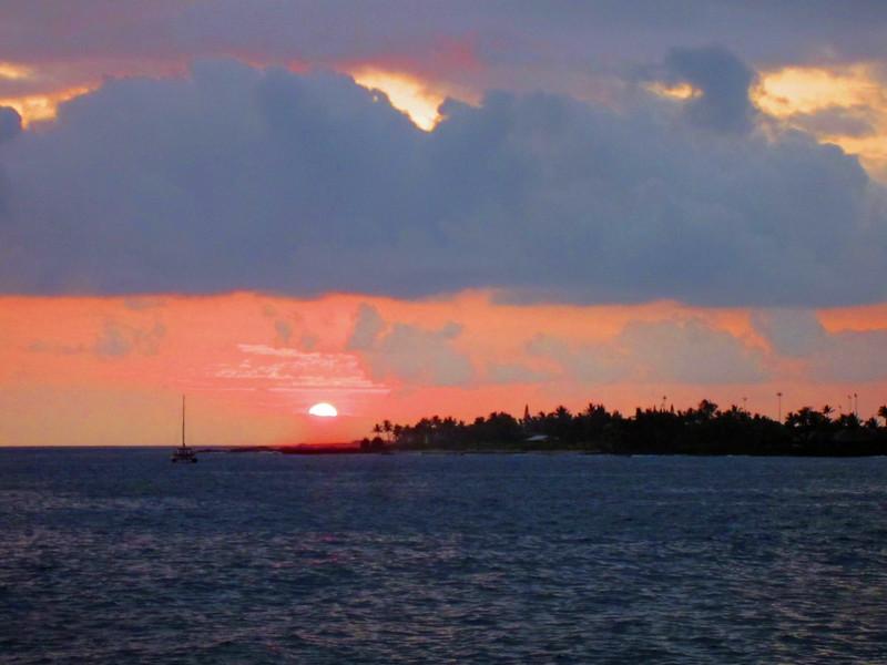 July 15, 2014. Sunset at Kona, Big Island, Hawaii.
