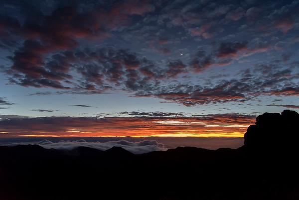 Moonset and Sunrise at Haleakala 8/14