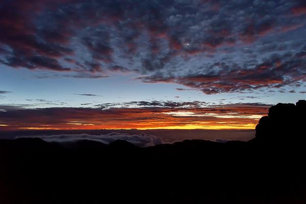 Moonset and Sunrise at Haleakala 7/14