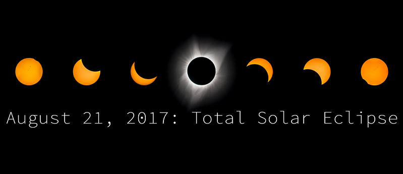 Great American Eclipse, August 21, 2017 - Row of 7