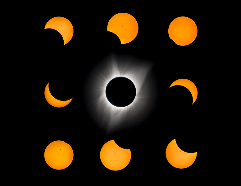 Great American Eclipse, August 21, 2017 3x3 Montage