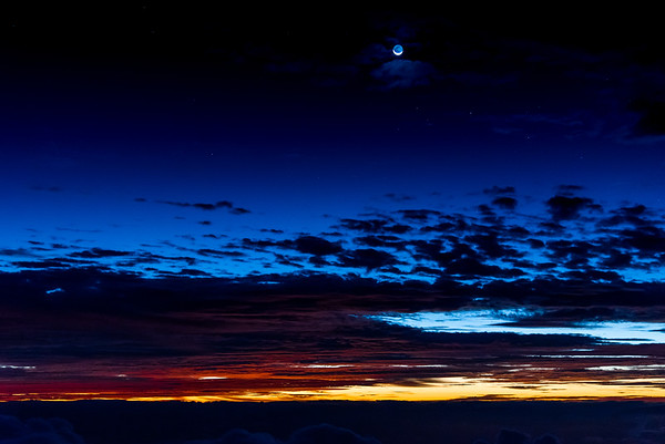 Moonset and Sunrise at Haleakala 5/14