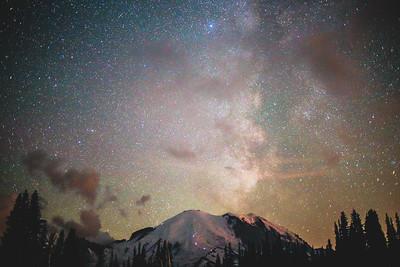 Milky Way over Mt Rainier