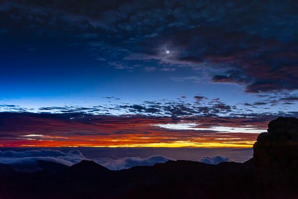 Moonset and Sunrise at Haleakala 6/14