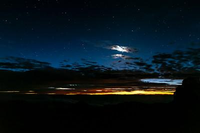 Moonset and Sunrise at Haleakala 1/14