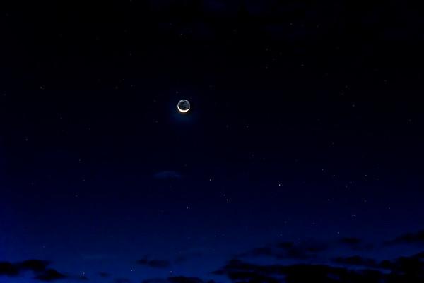 Moonset and Sunrise at Haleakala 3/14