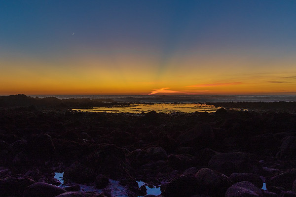 Sunset and Moon at Pacific Grove