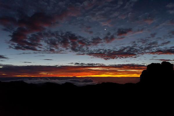 Moonset and Sunrise at Haleakala 9/14