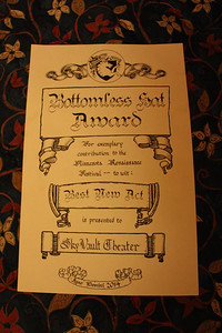 2014-09-27 Bottomless Hat Award certificate