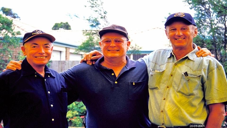 L-R: George Reeman (Loftys flat mate): Bill Angus: Lofty Harris. Common bond these three: Skydiving