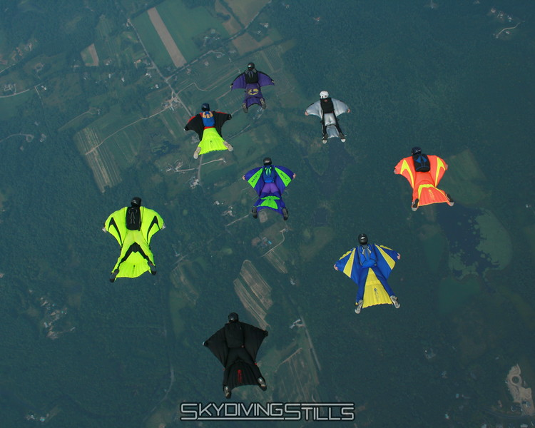8-way wingsuit flock. 8/25/07