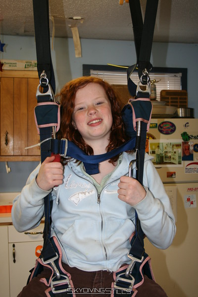Taylor practicing her emergency procedures in the hanging harness. 3/10/07