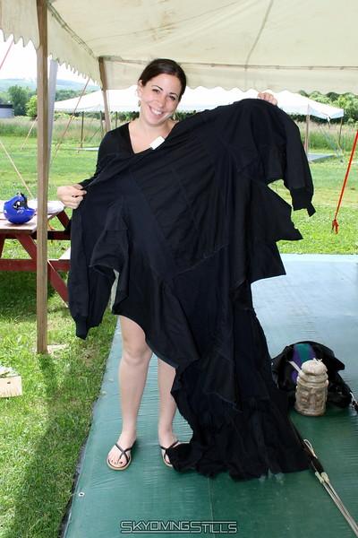 Sam models the new wingsuit, courtesy of the Ellington EMTs. 6/15/07