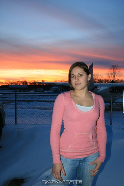 Jenna takes advantage of the purty sunset and poses for a picture. 1/4/09