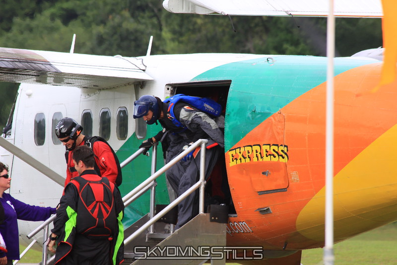 Rob exits in a wingsuit.  Doh! 8/13/09