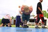Doug demonstrates a behind the back clap on on pushup.  Impressive. 6/28/09