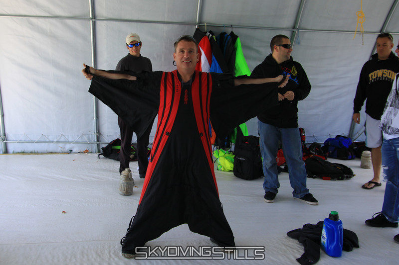 Matt gets fitted for his first wingsuit jump. 5/15/10