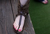 Gladiator shoes and painted toes. 6/11/10