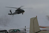 Black Hawk on final, starting to kick up some snow.