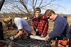 Will gives Chris some pointers on sharpening a chainsaw. 2/18/12