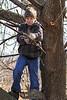 Logan the lumberjack up in a tree. 2/18/12