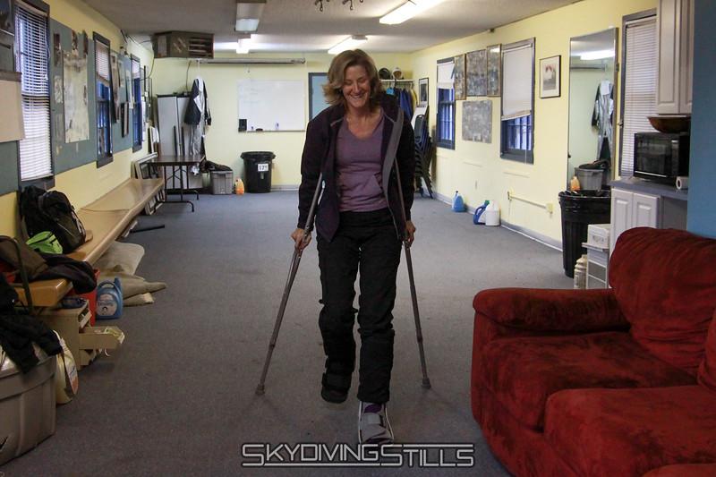 Kristin on her feet!