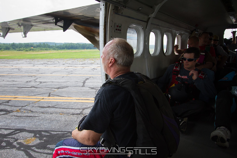 Mike watches the stormy weather in the distance as we taxi out.