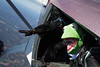 Gorilla and Kermit get in the door.