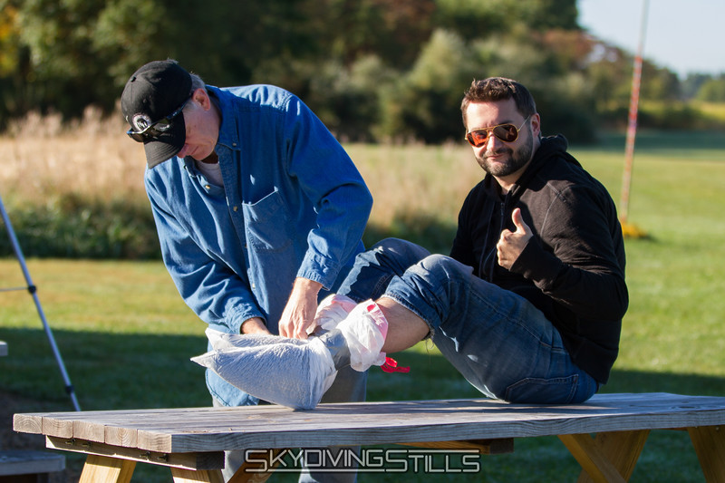 Billy gets his feet wrapped for XTREME performance. And so they don't get wet.