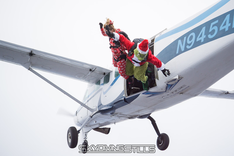 """The Grinch and Cindy exit. <br><span class=""""skyfilename"""" style=""""font-size:14px"""">2017-11-18_skydive_cpi_0145</span>"""
