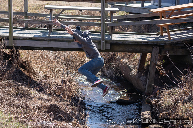 Jumping the brook.