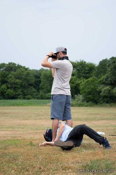 Matt remains completely focused on filming landings.