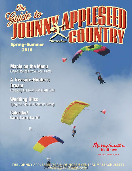 """Cover of """"The Guide to Johnny Appleseed Country"""" Spring-Summer 2010.  <a href='http://www.skydivingstills.com/Skydiving/2007/NESL-4-way-Meet-at-Jumptown/3340339_QGcYB#186104906_R8VQg'>Original photo</a>. 8/18/07"""