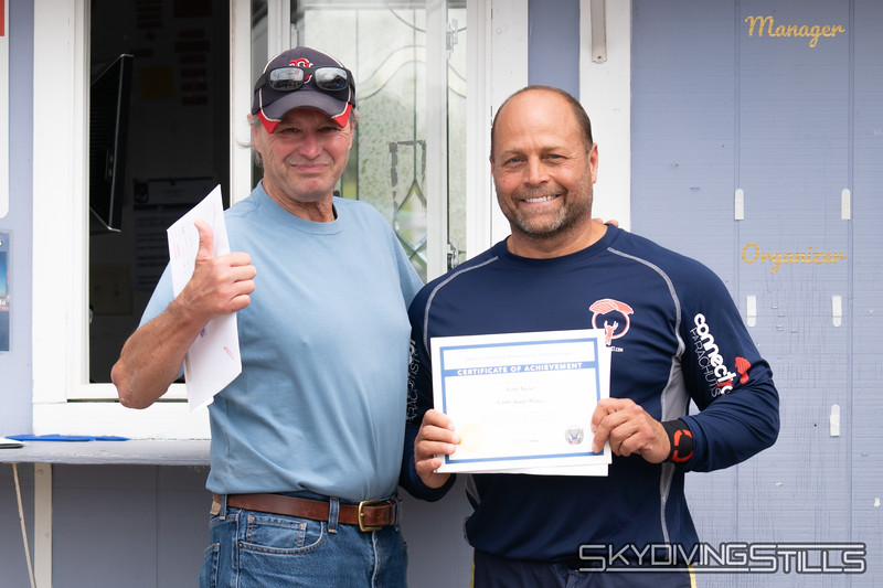 """Congrats on your 5000 jump wings, Mike! Published in Parachutist, November 2018. <br><span class=""""skyfilename"""" style=""""font-size:14px"""">2018-08-25_skydive_cpi_0449</span>"""