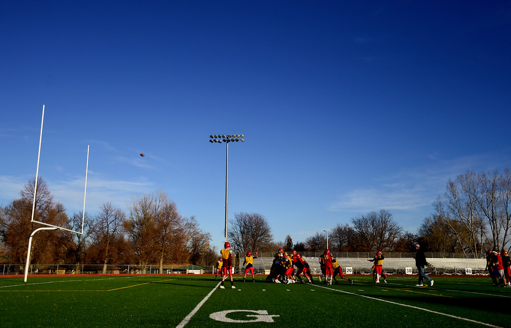 . LONGMONT, CO - NOVEMBER 15:Skyline High School\'s Nate McGregor kicks the ball for a field goal during football practice in Longmont on Nov. 15, 2018. Skyline faces Pine Creek in Class 4A football playoffs. (Photo by Matthew Jonas/Staff Photographer)