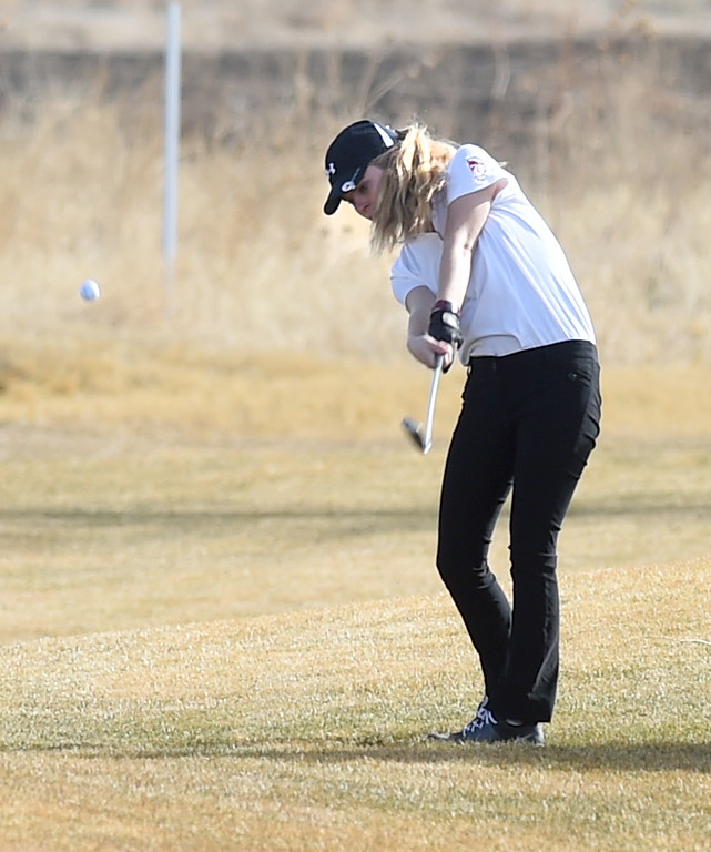 . Kenna Peterson, of Skyline High, hits to the green during the Skyline Invitational Girls Golf Tournament in Firestone on Wednesday.  For more photos, go to www.BoCoPreps.com. Cliff Grassmick  Staff Photographer March 15, 2017