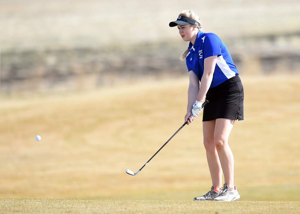 . Brie Nickal, of Centaurus High, watches her chip shot during the Skyline Invitational Girls Golf Tournament in Firestone on Wednesday.  For more photos, go to www.BoCoPreps.com. Cliff Grassmick  Staff Photographer March 15, 2017