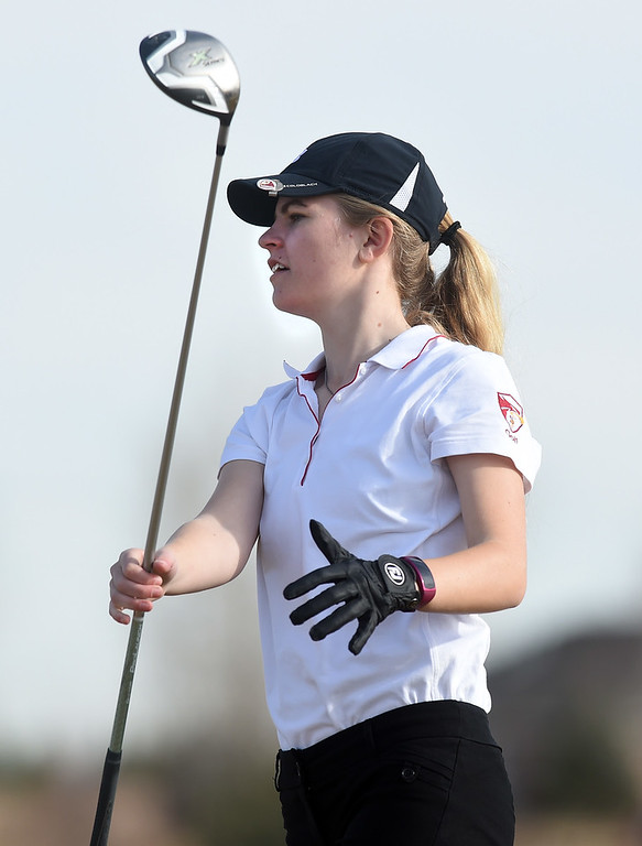 . Kenna Peterson, of Skyline High, watches her tee shot during the Skyline Invitational Girls Golf Tournament in Firestone on Wednesday.  For more photos, go to www.BoCoPreps.com. Cliff Grassmick  Staff Photographer March 15, 2017